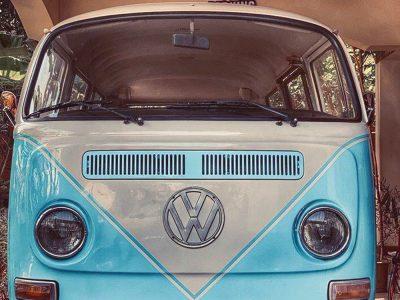 Vintage combi van front view
